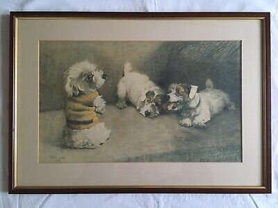 £85 • Buy CECIL ALDIN Terrier Dogs Playing Mounted & Framed Print