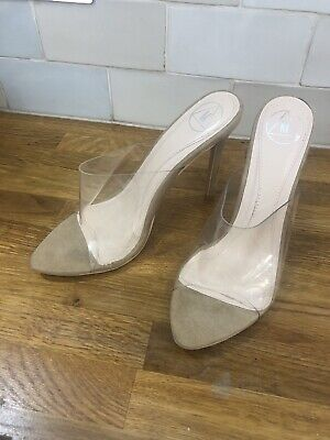 Missguided Nude Perspex Shoes Size 5 Heels Never Worn • 15£