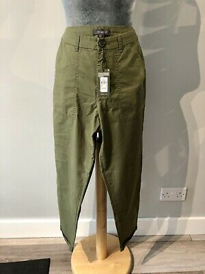 Women's Primark Khaki Green Cargo Chino Turn Up Cropped Trousers Size 12 • 4£