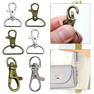 Metal Lobster Clasp D-Ring Swivel Trigger Snap Hooks Buckle Ring Keychain Clips • 2.19£