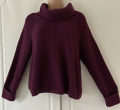 M&S Limited Collection Burgundy Jumper(Waist Boxy Style) Roll Neck Size 16 • 4.99£