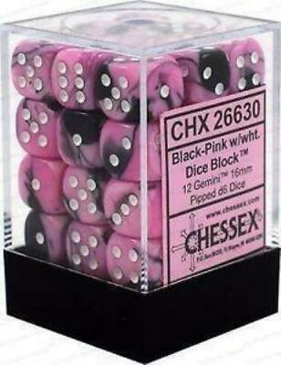 AU43 • Buy D6 Dice Gemini 12mm Black-Pink/White (36) CHX26830