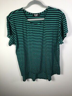 AU24.95 • Buy Toby NZ Designer Womens Blue And Green Striped T Shirt Size 14 Short Sleeve