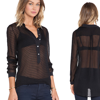 $ CDN75.52 • Buy EQUIPMENT Femme Silk Miles With Contrast Blouse Button Up Black Sheer Size Small