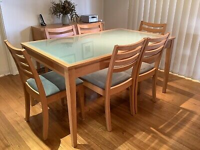 AU250 • Buy Glass Top Timber Dining Table With 6 Chairs
