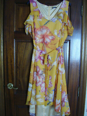 Bnwt  Roman  Vibrant Yellow Floral Printed High/low Dress - Size Small 20  • 19.99£