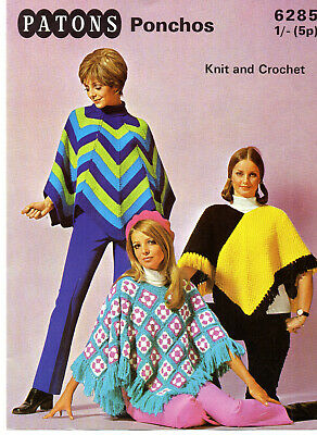 Pattern For Lady's DK Knit & Crochet Ponchos Chevron/Textured/Squares • 1.89£