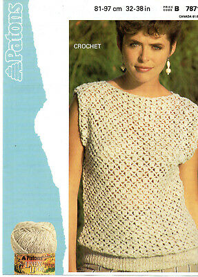 Crochet Pattern For Lady's Slash Neck Sleeveless Top 32-38  • 2.19£
