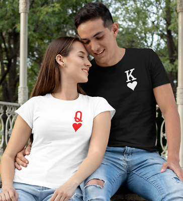 £10.99 • Buy KING & QUEEN OF HEARTS Matching Shirt   Couple Tee Wedding Anniversary Valentine