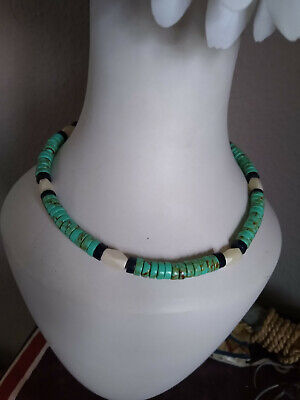 Native American Sterling Silver Turquoise And Lapis Lazuli Buffalo Bone Necklace • 24.95£