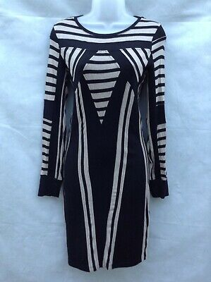 Striped BodyCon Dress M&S Limited Collection Black And Tan UK-8 • 9£