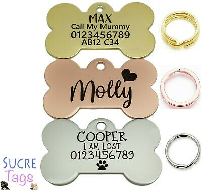 £4.99 • Buy Double Side Engraved Thick Bone Id Name Disc Personalised Pet Dog Cat Tag