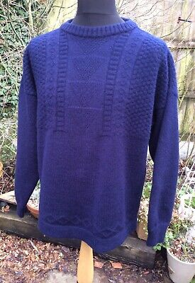 """Genuine Guernsey Lifeboat Jumper Navy 100% Pure New Wool Large 48"""" Special Ed • 15£"""