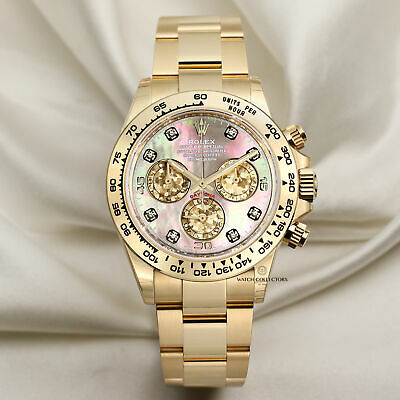 $ CDN75628.28 • Buy Unworn 2020 Rolex Daytona 116508 18k Yellow Gold Black Mother Of Pearl Diamon...