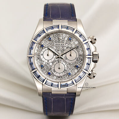 $ CDN149671.80 • Buy Rare Rolex Daytona 116589 18k White Gold Sapphire Baguette & Pave Diamonds