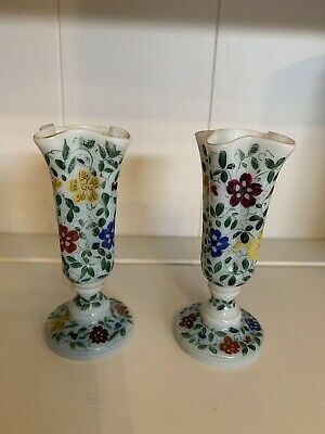 Pair Of Fabulous Opaline Hand Decorated Victorian Stem Vases • 69.95£