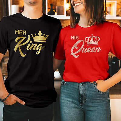 £6.99 • Buy King Queen His Queen Her King Couple Matching LOVE Valentine's Day T Shirt (204)