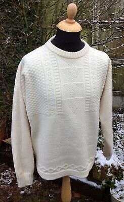 """Genuine Guernsey Lifeboat Jumper Cream 100% Pure New Wool Large 48"""" Special Ed • 15£"""
