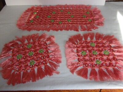 Vintage Dressing Table Mats, Pink, Set Of Three In Weave Pattern • 0.99£