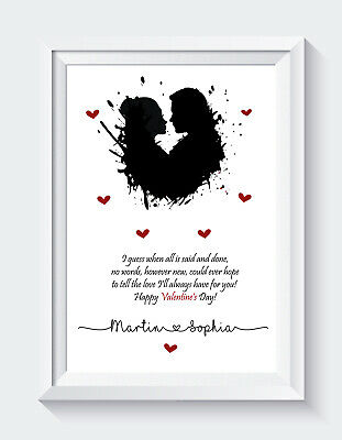 AU10.15 • Buy Personalised Valentines Day Poem Gift For Him For Her Couples A4 PRINT ONLY Gift