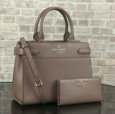 $ CDN203.28 • Buy Kate Spade Staci Leather Medium Satchel Crossbody Shoulder Bag Purse Wallet Set