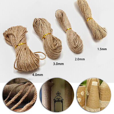 New Natural Brown Jute Burlap Hemp Twine String Cord Rope For Arts Craft HOT • 2.30£