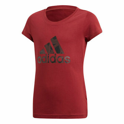 AU21 • Buy ADIDAS Girls T Shirt Maroon NEW Size 7-8 Sports Top UNWANTED GIFT Cool 3 Stripe