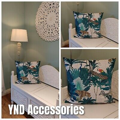 HANDMADE Cushion Cover Use Tropical Jungle Velvet Animals Parrot Peacock Fabric • 8.99£