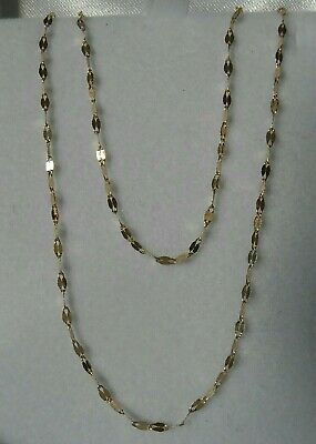 AU95 • Buy 9ct Solid Yellow Gold Necklace 45cm Chain Flat Links Super Sparkly Stamped 375