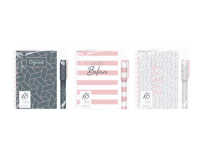 Spiral Bound A5 Wiro Notebook & Pen Set Book Hard Cover Notepad 70g Lined Paper • 3.50£