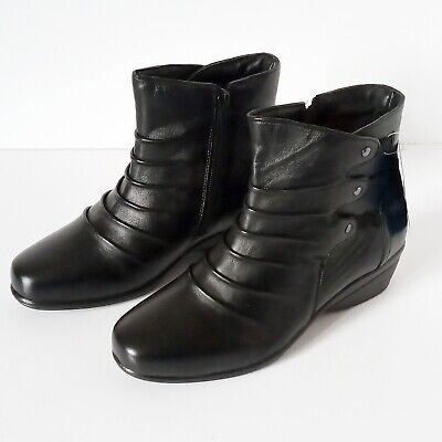 Ladies Leather Ankle Boots - Pavers - Black - Size 3 - KF-28012 - New In Box • 24.99£