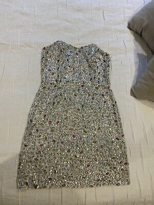 Topshop Boutique - Strapless Bodycon Party Occasion Embellished Dress - Size 10 • 15£