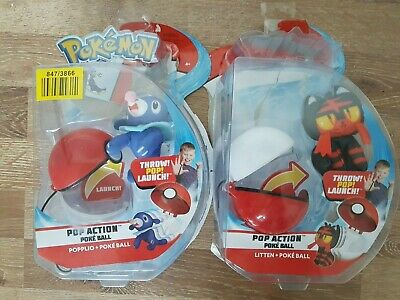Pokeball Figure Pokemon Pop Action - Popplio And Litten Plush Boxed • 7£