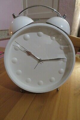 Large Double Bell Alarm Clock Battery Operated White / Silver Free Standing • 5£