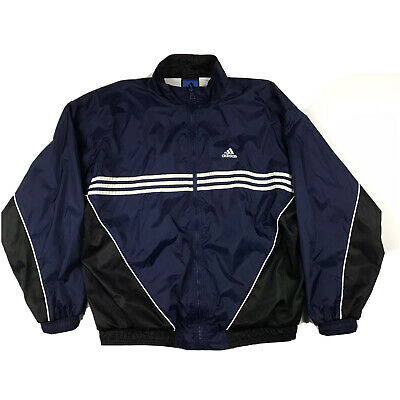 $ CDN50.86 • Buy Vintage Adidas Windbreaker Jacket Full Zip Track Jacket Adidas Team Navy Blue XL