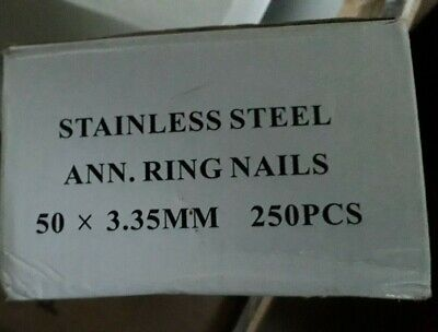 2 Boxes Of 250 Stainless Steel Annular Ring Nails    500 Nails • 26£