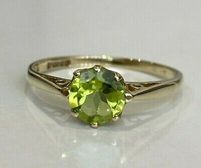 AU158 • Buy 9ct Solid Gold & Peridot Solitaire Ring 1.12g Size J 1/2 -  5