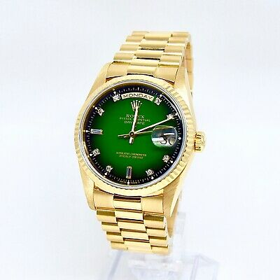 $ CDN45773.16 • Buy Rolex Day Date 18238 With Box And Papers Green Vignette Diamond Dial RARE
