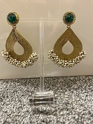 Indian Ethnic Jewellery Earrings Gold Antique Pearl Costume Wedding Party Green • 7£