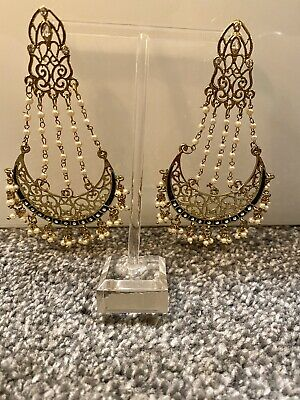 Indian Ethnic Jewellery Earrings Gold Antique Pearl Costume Wedding Party Bali • 7£
