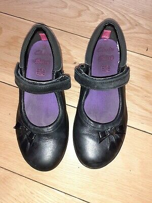 Clarks Infant Girls Daisy Gleam Black Leather School Shoes UK 11G • 12.99£