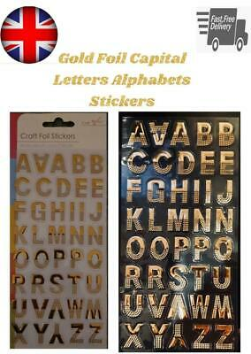 £1.25 • Buy Self Adhesive Letters Gold Foil Stickers Capital Letters Alphabets A - Z Bold
