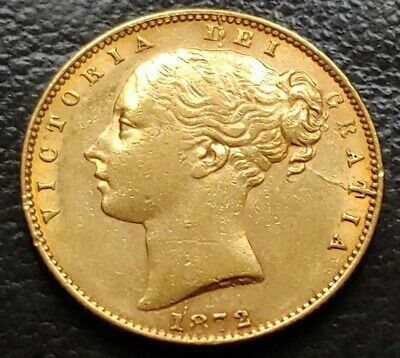 1872 Full Gold Sovereign No Die Number Queen Victoria Young Head Shield Back • 449£