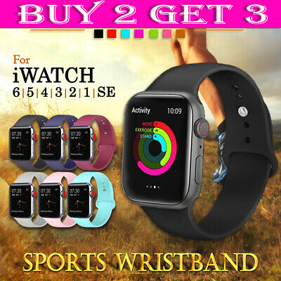 AU7.99 • Buy For Apple Watch IWatch Wrist Band 6 3 5 4 SE Silicone Sports Strap 38/40/42/44mm