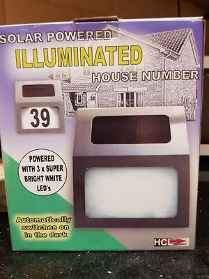 LED Solar Powered Illuminated Home House Number Sign Stainless Steel  • 7.50£