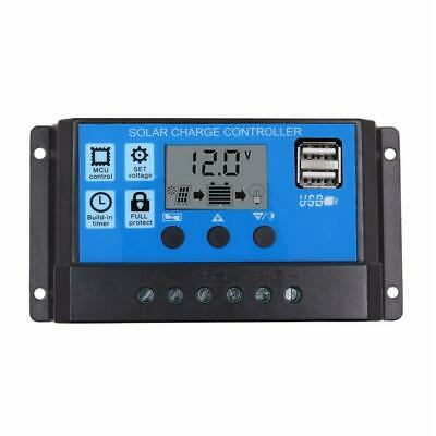 12V/24V LCD Auto Solar Charge Controller PWM Dual USB Output Charger (10A) • 10.12£