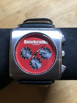 Lambretta Cassola Watch 2051/RED Dial With Black Leather Strap Chronograph • 49.99£