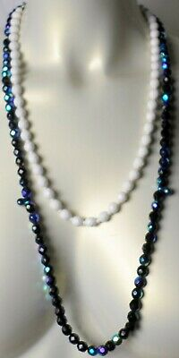 $22.22 • Buy 2 Vintage Czech 8mm White &Blue Iris Fire Polish Faceted Bead Long Necklace NEW
