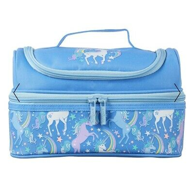 $ CDN29.10 • Buy Brand New- Smiggle Double Decker Unicorn Blue Lunch Box Bag
