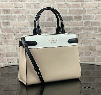$ CDN165.17 • Buy Kate Spade Staci Leather Medium Satchel Crossbody Shoulder Bag Purse $399 Beige